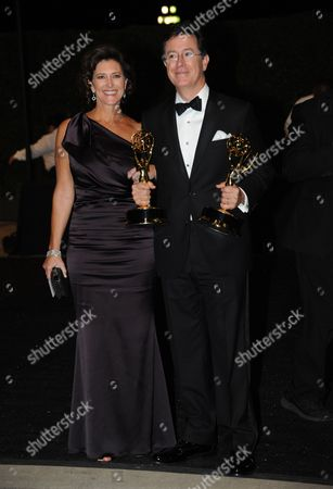 Stock Image of Evelyn Colbert and Stephen Colbert are seen at the Governors Ball at the 65th Primetime Emmy Awards at Nokia Theatre, in Los Angeles