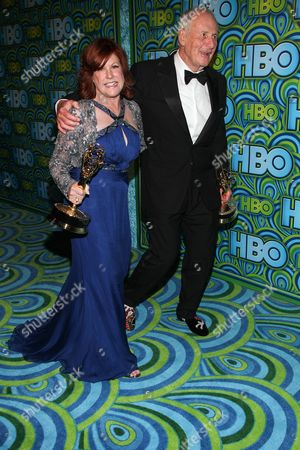 Producers Susan Ekins and Jerry Weintraub arrive at the HBO Primetime Emmy's After Party at The Plaza at the Pacific Design Center on in Los Angeles