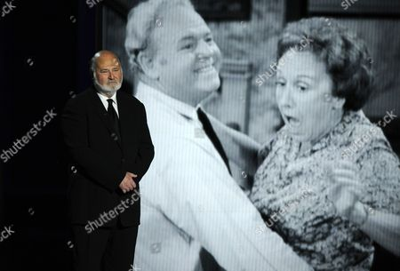 Rob Reiner speaks on stage during a tribute to Jean Stapleton at the 65th Primetime Emmy Awards at Nokia Theatre, in Los Angeles
