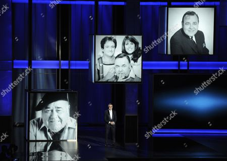 Robin Williams presents a tribute to Jonathan Winters on stage at the 65th Primetime Emmy Awards at Nokia Theatre, in Los Angeles