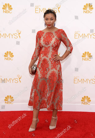 Zoe Soul arrives at the 66th Primetime Emmy Awards at the Nokia Theatre L.A. Live, in Los Angeles
