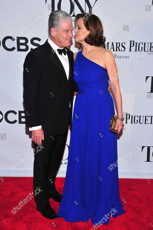 Sigourney Weaver and Jim Simpson arrives on the red carpet at the 67th Annual Tony Awards, on in New York