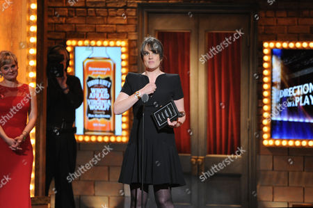 "Pam MacKinnon accepts the Tony award for best direction of a musical for ""Who's Afraid of Virginia Woolf,"" at the 67th Annual Tony Awards, on in New York"