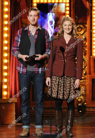 Actor Arthur Darvill, left, and actress Joanna Christie of Once speak on stage at the 67th Annual Tony Awards, on in New York