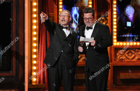 Managing Director Michael Maso, left, and Artistic Director Peter DuBois of the Huntington Theatre Company accept the award for the Tony for the Regional Theatre Award at the 67th Annual Tony Awards, on in New York