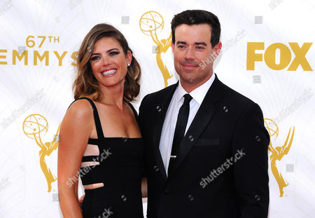 Siri Pinter, left, and Carson Daly arrive at the 67th Primetime Emmy Awards, at the Microsoft Theater in Los Angeles