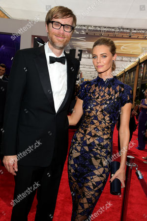 Stephen Merchant, left, and Christine Marzano arrive at the 67th Primetime Emmy Awards, at the Microsoft Theater in Los Angeles