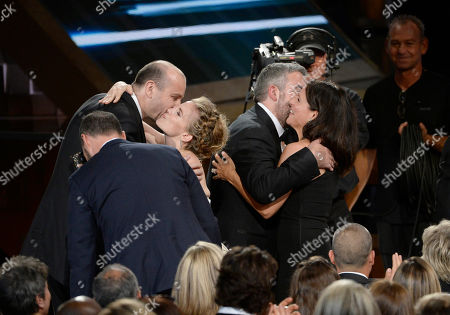 Tony Hale, from left, Simon Blackwel, Anna Chlumsky, Tony Roche, and Julia Louis-Dreyfus appear at the 67th Primetime Emmy Awards, at the Microsoft Theater in Los Angeles