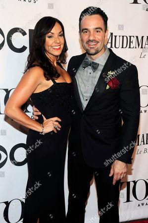 Ramin Karimloo and Amanda Karimloo arrives at the 68th annual Tony Awards at Radio City Music Hall, in New York