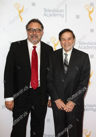Don Hahn, left, and Richard Sherman arrive at the L.A. Area Emmy Awards presented at the Television Academyâ?™s new Saban Media Center, in the NoHo Arts District in Los Angeles