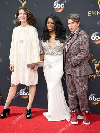 Gaby Hoffmann, from left, Alexandra Grey, Jill Soloway arrive at the 68th Primetime Emmy Awards, at the Microsoft Theater in Los Angeles