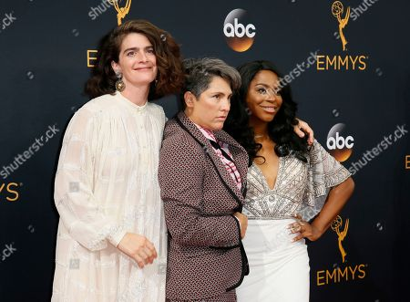 Gaby Hoffmann, from left, Jill Soloway and Alexandra Grey arrive at the 68th Primetime Emmy Awards, at the Microsoft Theater in Los Angeles