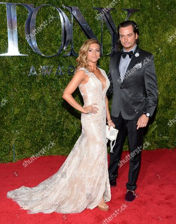 Constantine Maroulis, right, and Angel Reed arrive at the 69th annual Tony Awards at Radio City Music Hall, in New York