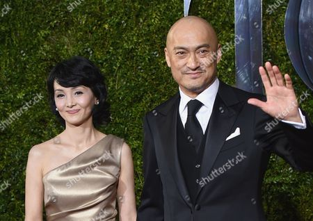 Ken Watanabe, right, and Kaho Minami and arrive at the 69th annual Tony Awards at Radio City Music Hall, in New York