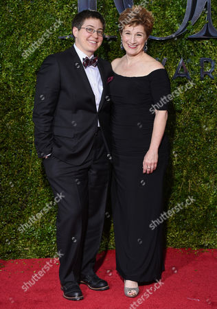 Madeline George, left, and Lisa Kron arrive at the 69th annual Tony Awards at Radio City Music Hall, in New York