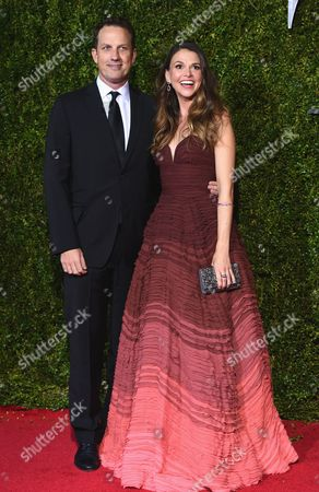 Ted Griffin, left, and Sutton Foster arrives at the 69th annual Tony Awards at Radio City Music Hall, in New York