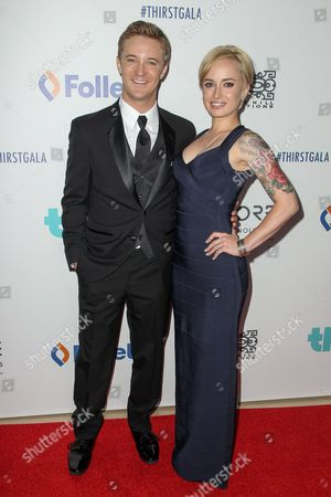 Michael Welch, left, and Samantha Maggio attend the 6th Annual Thirst Gala at The Beverly Hilton Hotel on in Beverly Hills, Calif