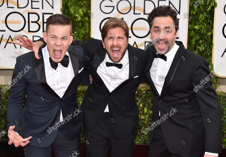 Johannes Bah Kuhnke, from left, Ruben Ã-stlund, and Erik Hemmendorff arrives at the 72nd annual Golden Globe Awards at the Beverly Hilton Hotel, in Beverly Hills, Calif