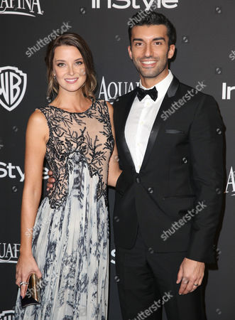 Emily Foxler, left and Justin Baldoni arrive at the 16th annual InStyle and Warner Bros. Golden Globes afterparty at the Beverly Hilton Hotel, in Beverly Hills, Calif