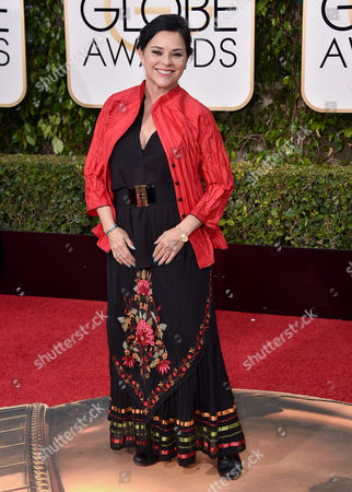 Diana Gabaldon arrives at the 73rd annual Golden Globe Awards, at the Beverly Hilton Hotel in Beverly Hills, Calif