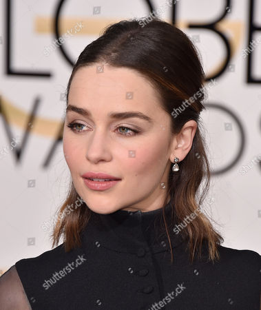 Emilia Clark arrives at the 73rd annual Golden Globe Awards, at the Beverly Hilton Hotel in Beverly Hills, Calif
