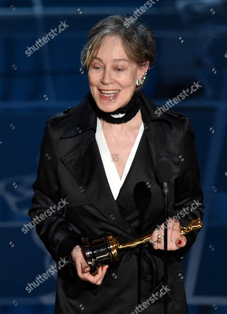 Milena Canonero accepts the award for best costume design for â?oeThe Grand Budapest Hotelâ?? at the Oscars, at the Dolby Theatre in Los Angeles