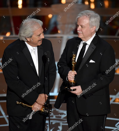 Alan Robert Murray, left, and Bub Asman accept the award for best sound editing for â?œAmerican Sniperâ?? at the Oscars, at the Dolby Theatre in Los Angeles