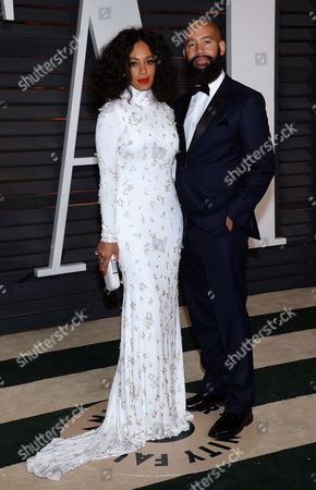 Solange Knowles, left, and Alan Ferguson arrives at the 2015 Vanity Fair Oscar Party, in Beverly Hills, Calif