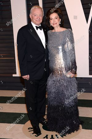 Businessman Jerry Jones, left, and Eugenia Jones arrive at the 2015 Vanity Fair Oscar Party, in Beverly Hills, Calif