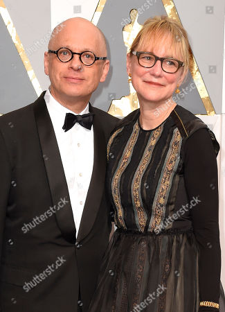 David Lang, left, and Suzanne Bocanegra arrive at the Oscars, at the Dolby Theatre in Los Angeles