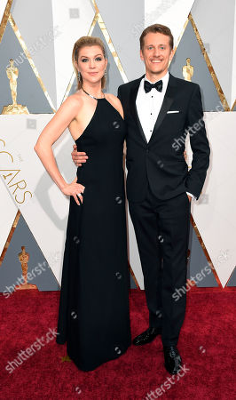 Courtney Marsh, left, and Jerry Franck arrive at the Oscars, at the Dolby Theatre in Los Angeles