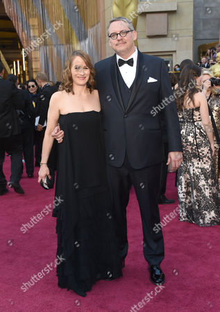 Adam McKay, right, and Shira Piven arrive at the Oscars, at the Dolby Theatre in Los Angeles