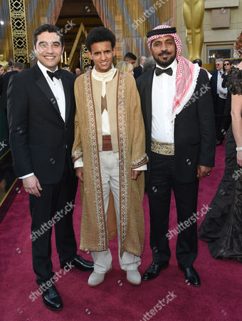 Naji Abu Nowar, from left, Jacir Eid, and Hassan Mutlag Al-Maraiyeh arrive at the Oscars, at the Dolby Theatre in Los Angeles