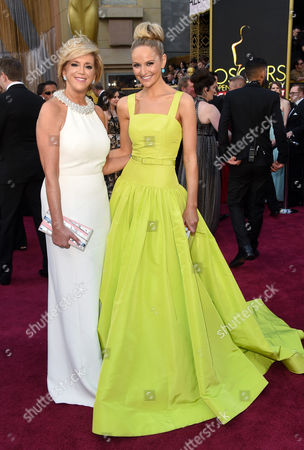 Joy Mangano, left, and Jackie Miranne arrive at the Oscars, at the Dolby Theatre in Los Angeles