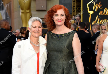 Emma Donoghue, right, and Christine Roulston arrive at the Oscars, at the Dolby Theatre in Los Angeles