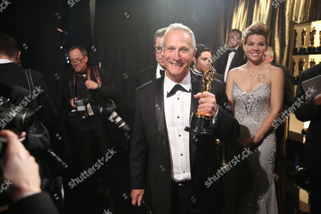 Ben Osmo appears backstage with the award for best best sound mixing for Mad Max: Fury Road at the Oscars, at the Dolby Theatre in Los Angeles