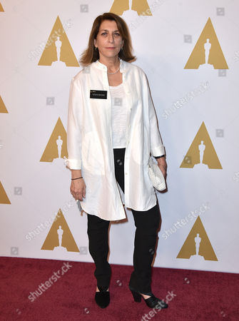 Maryann Brandon arrives at the 88th Academy Awards Nominees Luncheon at The Beverly Hilton hotel, in Beverly Hills, Calif