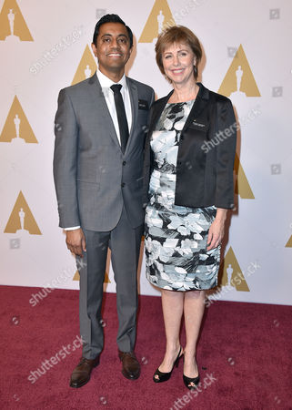Sanjay Patel, left, and Nicole Grindle arrive at the 88th Academy Awards Nominees Luncheon at The Beverly Hilton hotel, in Beverly Hills, Calif