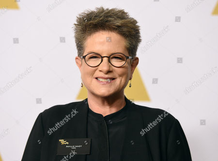 Phyllis Nagy arrives at the 88th Academy Awards Nominees Luncheon at The Beverly Hilton hotel, in Beverly Hills, Calif