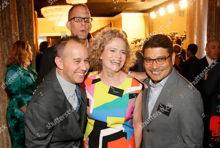 Jonas Rivera, from left, Pete Docter, background, Meg LeFauve and Ronnie del Carmen attend the 88th Academy Awards Nominees Luncheon at The Beverly Hilton hotel, in Beverly Hills, Calif