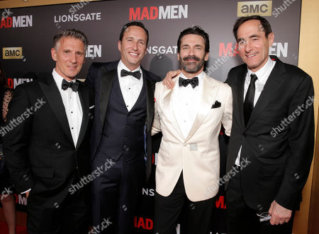 """Christopher Stanley, from left, Charlie Collier, president and general manager of AMC, Jon Hamm and Josh Sapan, president and CEO of AMC Networks Inc., arrive at AMC's Black & Red Ball to celebrate the final episodes of """"Mad Men"""" at Dorothy Chandler Pavilion, in Los Angeles"""
