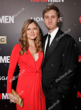 "Connie Fletcher, left, and Aaron Staton arrives at AMC's Black & Red Ball to celebrate the final episodes of ""Mad Men"" at Dorothy Chandler Pavilion, in Los Angeles"