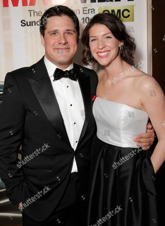 "Rich Sommer, left, and Virginia Donohoe arrive at AMC's Black & Red Ball to celebrate the final episodes of ""Mad Men"" at Dorothy Chandler Pavilion, in Los Angeles"