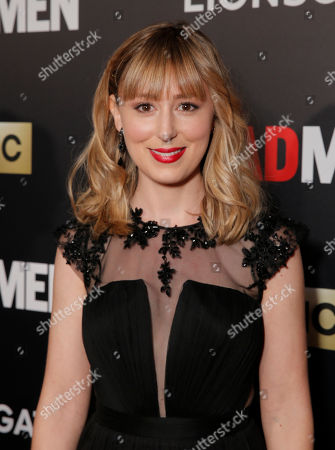 """Stephanie Drake arrives at AMC's Black & Red Ball to celebrate the final episodes of """"Mad Men"""" at Dorothy Chandler Pavilion, in Los Angeles"""