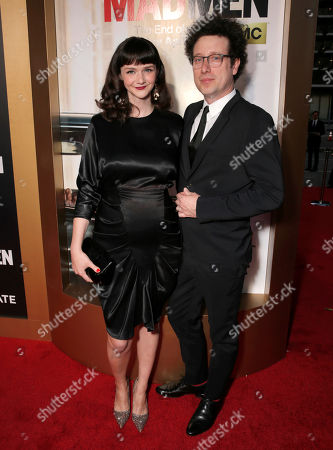 "Stock Photo of Alexandra Ella, left, and Justin Meldal-Johnsen arrive at AMC's Black & Red Ball to celebrate the final episodes of ""Mad Men"" at Dorothy Chandler Pavilion, in Los Angeles"