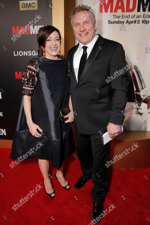 "Patricia Heaton, left, and David Hunt arrive at AMC's Black & Red Ball to celebrate the final episodes of ""Mad Men"" at Dorothy Chandler Pavilion, in Los Angeles"