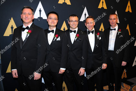 Technical Achievement Award recipients from left: John Scott Miller, Thomas Wan, Matthew Robinson, Jared Smith and Trevor Davies attend the Academy of Motion Picture Arts and Sciences' Scientific and Technical Awards Presentation at The Beverly Wilshire Hotel on in Beverly Hills, CA