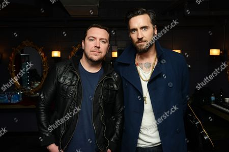 Joseph Milligan and Christian McAlhaney of Anberlin posed, at Center Stage Theater, in Atlanta