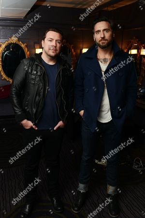Stock Photo of Joseph Milligan and Christian McAlhaney of Anberlin posed, at Center Stage Theater, in Atlanta