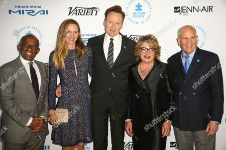 Al Roker, from left, Liza Powel, Conan O'Brien, Suzanne Wright and Bob Wright arrive at the Autism Speaks to LA Celebrity Chef Gala at Barker Hangar, in Santa Monica, Calif